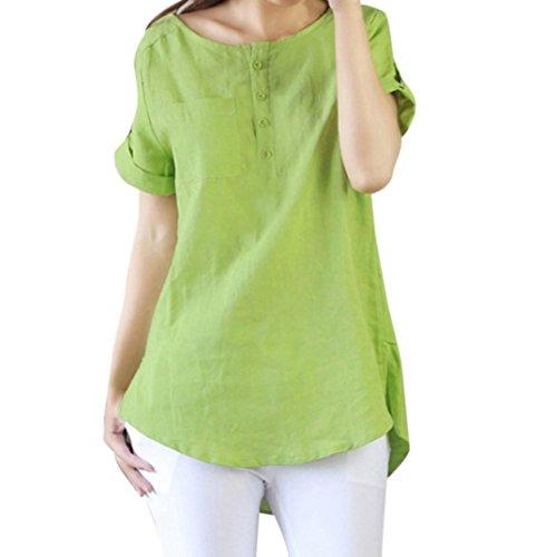 Women's Tops, OverDose Summer Casual Short Sleeve Loose T Shirt Cotton Linen Blouse