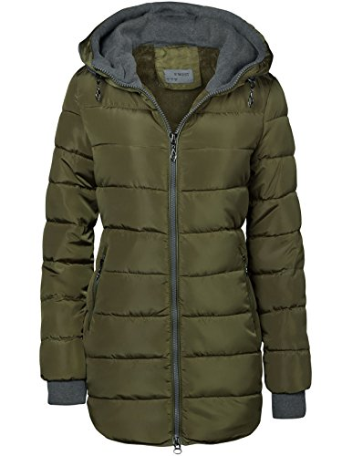 Abrigo acolchado largo, forrado y con capucha, mangas con orificios para el pulgar Army Grün XXL