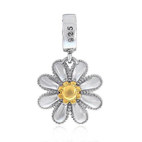 Lucky charm a forma di fiore, in argento sterling 925daisy charm anniversario compleanno, natale charm per braccialetti pandora