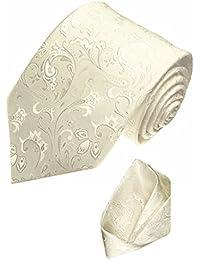 LORENZO CANA - Hochzeitskrawatte Set 100% Seide Krawatte Tuch Ivory Elfenbein Creme Barock Krawattenset Hochzeit - 84349