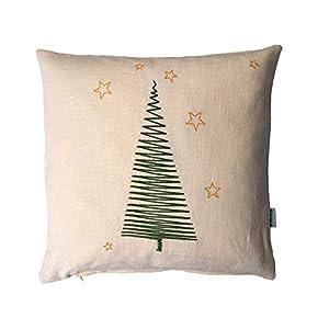 Kissenbezug, Tannenbaum Stickerei grün/gold, Leinen cremefarben, 40x40cm,45x45cm,50x50cm,Weihnachtsdeko,Weihnachtsgeschenk,Weihnachtsbaum