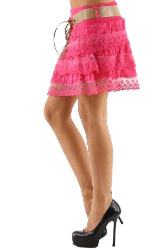 jowiha® Volant Minirock Damen Sommer Rock mit Spitze und Gürtel verschiedene Farben Einheitsgröße 34-40 XS-M Pink (Fuchsia)