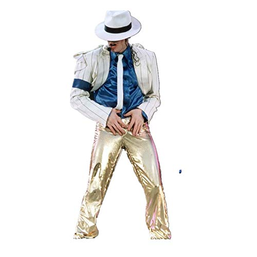 Disfraz de Michael Jackson Niño Adulto Michael Jackson Cosplay Stripes Smooth Criminal Suit Jacket + Pants + Shirt + Hat + Tie (XXS: H 150-155cm)