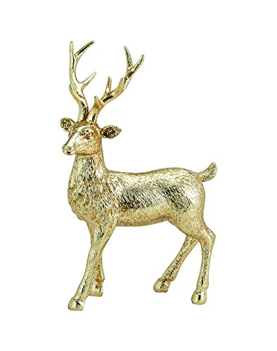 G. Wurm KG Hirsch-Figur/Deko-Figur Hirsch in Gold - Deko-Figuren - Weihnachts-Figuren - Weihnachten - Weihnachts-Deko - Maße: B/T/H19 cm x 9 cm x 28 cm -