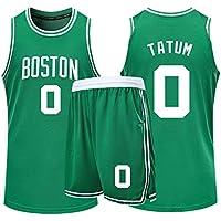 Conjunto de Pantalones Cortos de Baloncesto para niños 0# Jayson Tatum, niños y Adolescentes, Conjunto clásico sin Mangas de Regalo, Pantalones Cortos de Entrenamiento para Hombres (A,4XL)