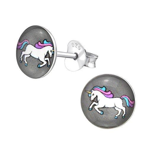 Laimons Mädchen Kinder-Ohrstecker Ohrringe Kinderschmuck Einhorn Unicorn glanz Scheibe Platte Bunt 7 mm Sterling Silber 925
