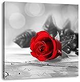 schöne Rose auf altem Holztisch schwarz/weiß, Format: 40x40 auf Leinwand, XXL riesige Bilder fertig gerahmt mit Keilrahmen, Kunstdruck auf Wandbild mit Rahmen, günstiger als Gemälde oder Ölbild, kein Poster oder Plakat