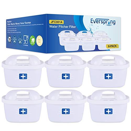 EVERSPRING TÜV SÜD Zertifiziert Wasserfilter Ersatz für Brita Maxtra+, Maxtra Plus, Mavea, Anna Duomax 6 Stück (rechnung vorhanden)