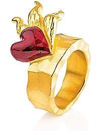 Mujer-ring drachenfelshotel cortallamas Inferno de plata chapado en oro - D IN 11/AGR
