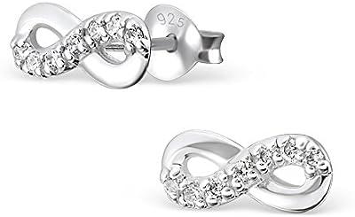 Laimons - Pendientes con forma de símbolo del infinito para mujer - Circonitas y plata de ley 925