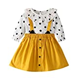 Kleinkind Kinder Baby Mädchen Outfits Kleidung Dot T Shirt Tops + Hosenträger Kleid 2 StückeE Set