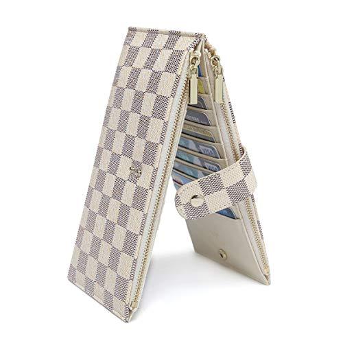 Daisy Rose Checkered Multi Card Wallet Clutch - Rfid Blocking Organisator Kartenhalter mit Reißverschluss-Taschen -Pu Vegan Leder Klein Sahne -