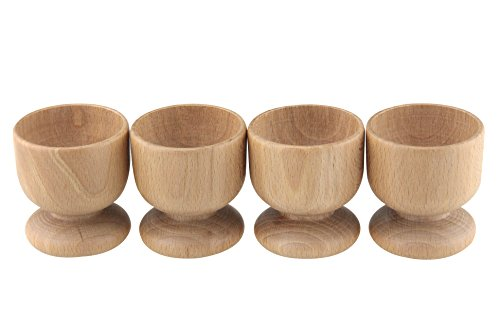 Apollo housewares set di 4 portauova in legno di faggio, 24 x 5,5 cm, naturale