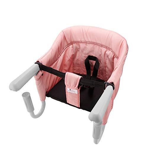 Tischsitz Faltbar Babysitz Baby Hochstuhl Sitzerhöhung für zu Hause und Unterwegs mit Transporttasche (Rosa)
