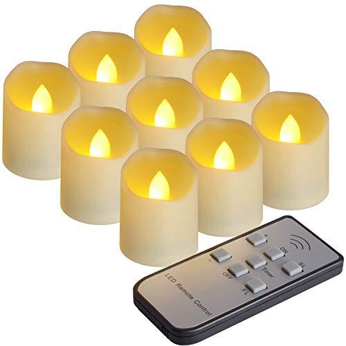 9PCS LED flammenlose Kerzen mit Fernbedienung und Timer-Funktion, Helligkeit und Flimmern/Dauerlicht einstellbar, mehr als 200 Stunden