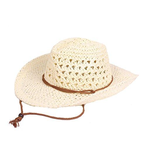 Frauen Männer Hut Sonnenschutz verstellbaren Riemen Mode Panama Cowboy Fedora Hut leichte Baumwolle Kopfbedeckung - cremeweiß