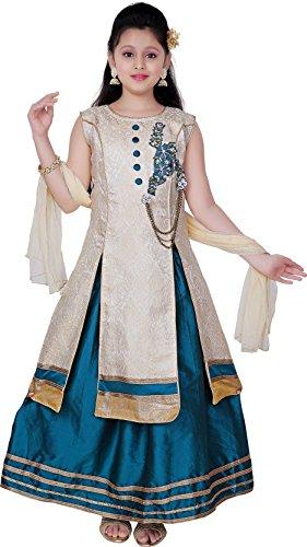 Saarah Girls Ethnic Wear Green Color Embellished Lehenga, Choli and Dupatta Set...