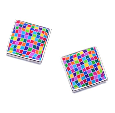 925 Sterling Silver Large Square Stud Earrings Handmade Mosaic Pattern