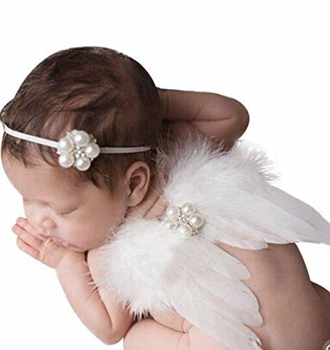 iKulilky Neugeborenes Baby Fotografie Requisiten Kostüm Feder Engel Flügel und Headband Set Cute Foto Zubehör Foto Prop Outfit (Super Cute Baby Kostüm)