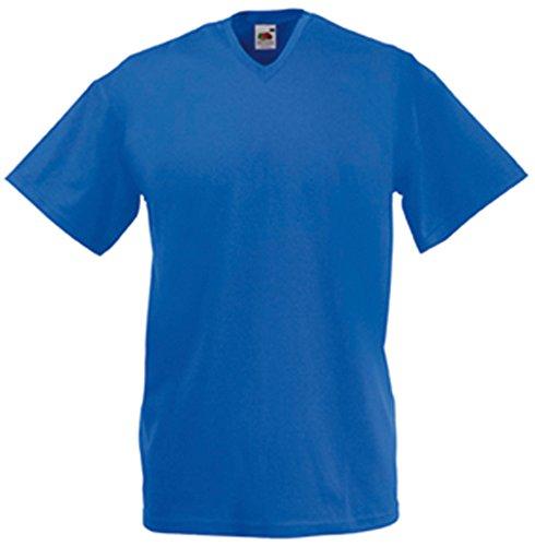 Fruit of the Loom - V-Neck T-Shirt 'Value Weight' L,Royal (V-neck Royal)