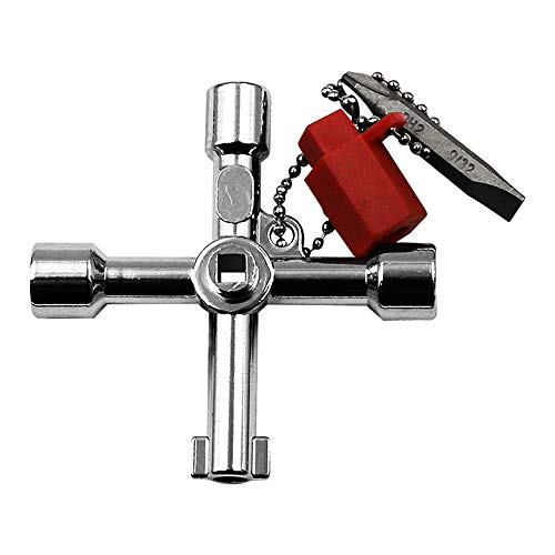 Wokee 4 Wege Kreuzschlüssel Quadrat Universal Multifunktionsschlüssel Bauschlüssel für Schaltschränke,Fenster und Absperrsysteme