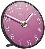 Vaerst 4012 Quarz-Tischuhr aus Mineralglas, Zifferblatt violett, Trenduhr