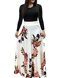 Yunloo Women Sexy Long Sleeve Printing Maxi Dress Polyester S-2XL Multicolor 3563cb4ca8