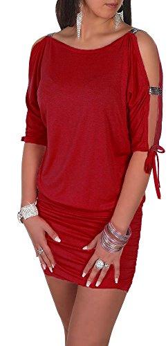 Glamour Empire Damen Tunik Top mit Armschlitz Mini-Kleid Schwarz Partykleid 157 Purpur