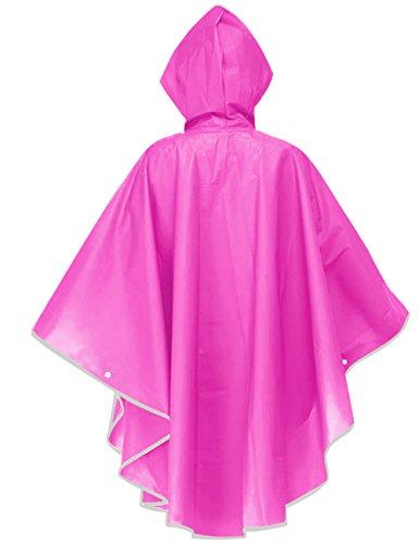 Aibrou Damen Transparent EVA Wasserdicht Motorad Poncho Regenjacke Rosa