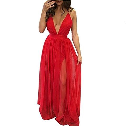 Sommer Amlaiworld damen V-Ausschnitt Lang chiffon kleider Trägerlos mode Kleid elegant Gefaltet kleidung (M, Rot)
