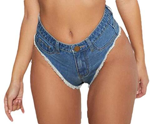 security Damen Low Rise Side Straps Cheeky Mini Denim Shorts Clubwear Gr. XX-Small, 2 - Zerstört Low-rise-jeans