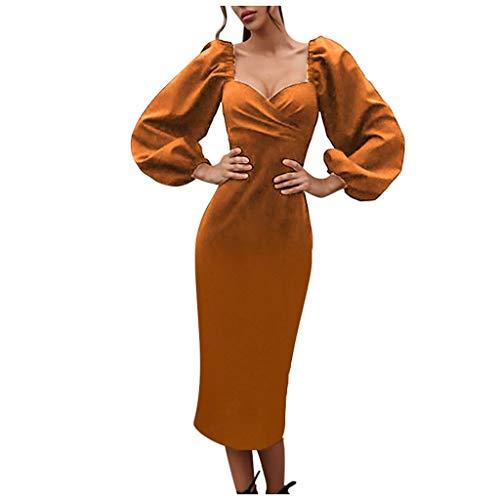 Dasongff Damen Laterne Sleeves Kleider A-Line Basic Casual Partykleid Etuikleid Elegante Abendkleider Schöne Cocktailkleid