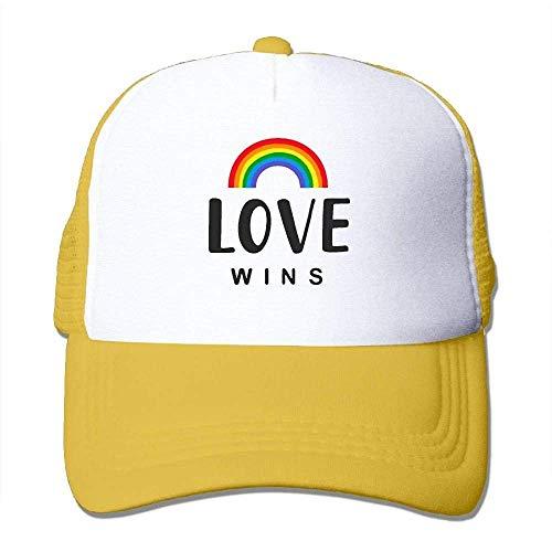 Hoswee Unisex Kappe/Baseballkappe, Love Wins Men&Women Mesh Back Core Baseball Cap Air Mesh Polyester Cap -