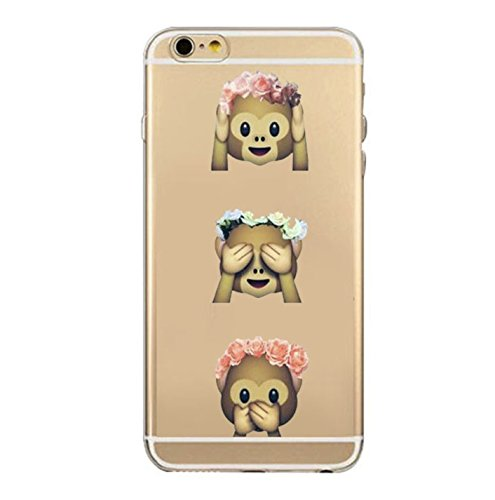 Incendemme Handycase Handyhülle Schutzhülle Handytasche Case Back Für iPhone TPU Emoji Vintage Kreativ Apfel Slim Transparent Original (iPhone 8 Plus, Poop) 3 monkeys