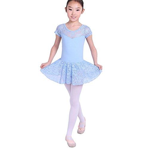 Brightup Mädchen Ballett Latin Dance Rock Kurzarm Spitze Dress Up (Gril Dress Up)