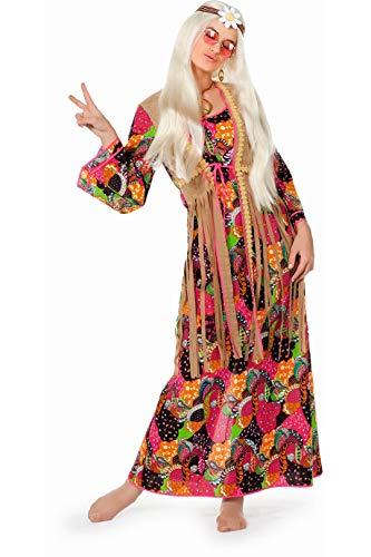 Wilbers 4456 Hippie-Kostüm Damen Kleid lang mit Fransen Hochwertige Verkleidung Gruppenkostüm Partnerkostüm Frauen Größe 52 Multi