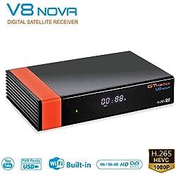 GT MEDIA V8 Nova Receptor TV Satélite Decodificador Digital Satelite DVB-S2 con WiFi / Ethernet / HEVC H.265 / 1080P Full HD / SCART, Soporte PVR Youtube CCcam