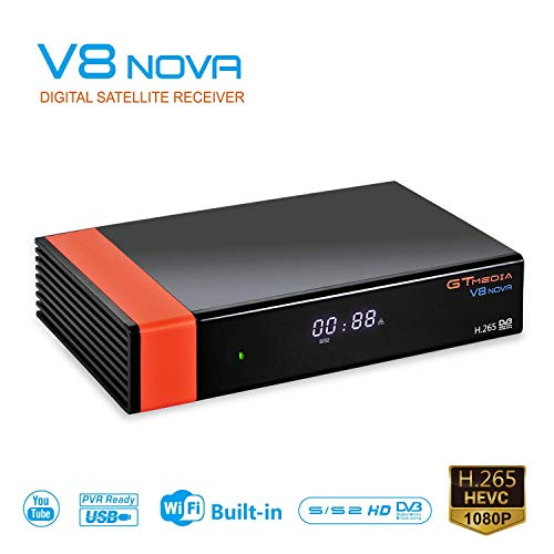 GT MEDIA V8 Nova DVB S2 Decodificador Satelite Receptor de TV Digital con Wi-Fi Incorporado / Ethernet / HEVC H.265 / 1080P Full HD Soporte Youtube, CCcam, Newcam, PVR Ready PowerVu Dre Biss Key