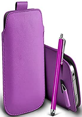 Great Deals on Click Sales®, Nokia lumia 520, PU PULL TAB, Flip Grip Protective POUCH WALLET SKiN POCKET LEATHER CASE COVER + Stylus Pen (LIGHT PURPLE)