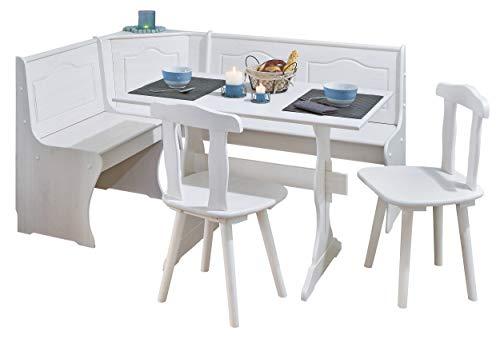 H24living Eckbankgruppe Eckbank Essgruppe Essecke Bank Sitzecken Tisch 2 Stühle Landhaus-Stil Küche Massivholz Truhenfächer Holz Kiefer Massiv 124-163 x 49 x 85 cm (Weiß)
