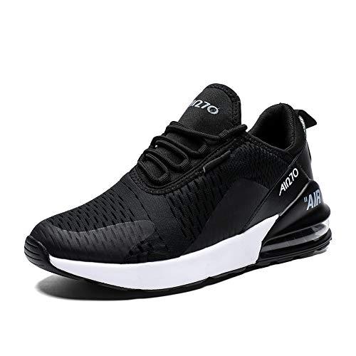 Herren Laufschuhe Gym Sportschuhe Straßenlaufschuhe Outdoor Trainers Atmungsaktiv Turnschuhe Joggen Schuhe Freizeit Sneaker(270-Schwarz/Weiß, 42EU)