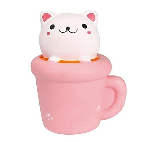 Sayue Jouet de chat squishy - jumbo slow rising cupcake cat kawaii doux mignon coussin à main main poignet jouet cadeau