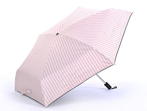 Honeystore Taschenschirm Leichtgewicht 5-Falten Klein Kompakt Schirm Streifen Sonne Sonnnenschirm Rosa