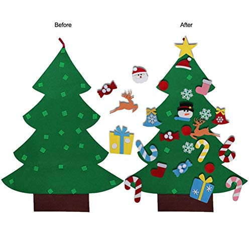(Kreative Weihnachtsbaum Zubehör,DIY Filz Weihnachtsdekoration Geschenke Abnehmbare Filz Klettverschluss Weihnachtsdekoration für Kindern)