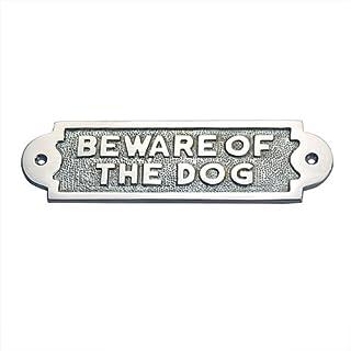 ADONAI Hardware BEWARE OF THE DOG Messing Türschild-Chrom poliert