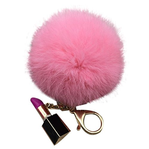 BZLine® Soft Ball Plüsch Bowknot Charm Car Keychain Handbag Key Ring Schlüsselanhänger (Pink)