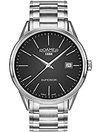 Roamer Men's Quartz Watch with Black Dial Analogue Display and Silver Stainless Steel Bracelet 508833 41 55 50