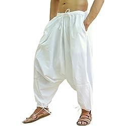 Sarjana Handicrafts Pantalón bombacho de yoga, para hombre, de algodón, estilo genio, harem, color blanco