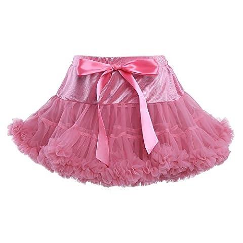 YiZYiF Mädchen Kinder Tüllrock Petticoat Ballettrock Ballettröckchen Retro Rock Prinzessin Kleid Tütü Röcke Kostüm Brink Pink (Prinzessin Gekräuselten)