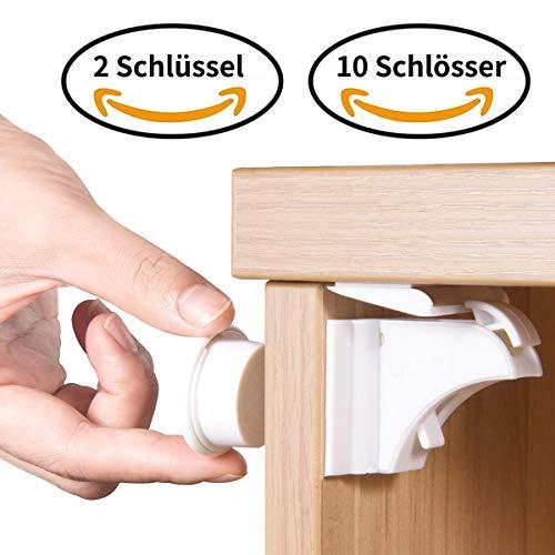 Norjews Baby Sicherheit Magnetisches Schrankschloss(10 Schlösser + 2 Schlüssel) | zum Kindersicherung Schloss für Schränke und Schubladen | Unsichtbare | Klebeband | Ohne Bohren oder Werkzeug | -